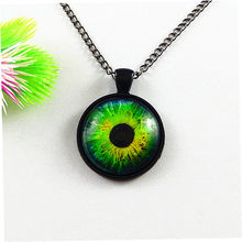 4pc/lot Fashion Chain Necklace Glass Cabochon Dome Eyes Bezel Pendant Dragon Eye of Horus 25mm Charm Jewelry Women Gifts GR-161(China)