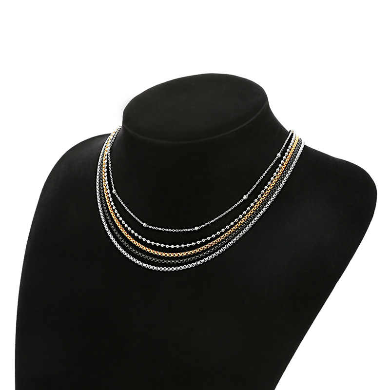 AZIZ BEKKAOUI Stainless Steel Black Silver Gold Color Box Chain Beads Basic Chains Men Necklace Choker Jewelry Top Quality