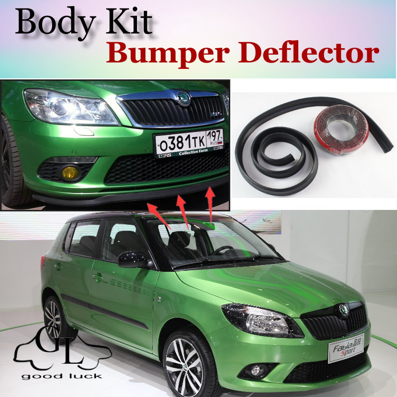 Bumper Lip Deflector Lips For Skoda Fabia Front Spoiler Skirt For TopGear Fans to Car Tuning View / Body Kit / Strip ownsun innovative super cob fog light angel eye bumper cover for skoda fabia scout