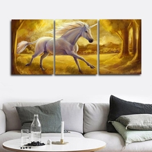 Laeacco 3 Panel White Unicorn Animal Posters and Prints Abstract Canvas Calligraphy Painting Wall Artwork Home Living Room Decor