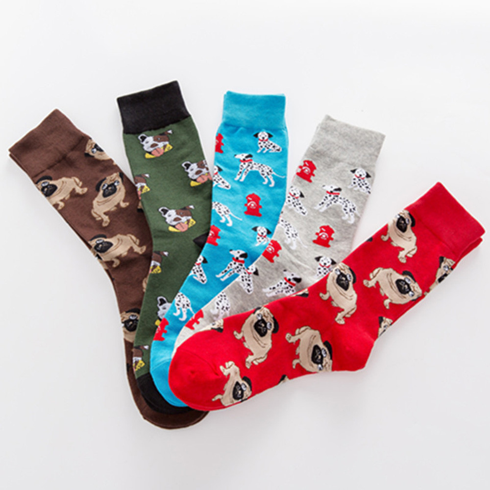 New Men's Socks Colorful Autumn Dog Sock In Tube Socquette Casual Cotton Socks Eu41-46 Comfortable Meias Elastic Soxs Soft Hocok