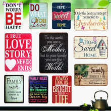 Hot Family Rules Vintage Mental Plaque Love & Live Tin Signs Art Wall Stickers Bar Home Sweet Decorative Painting Posters WY26