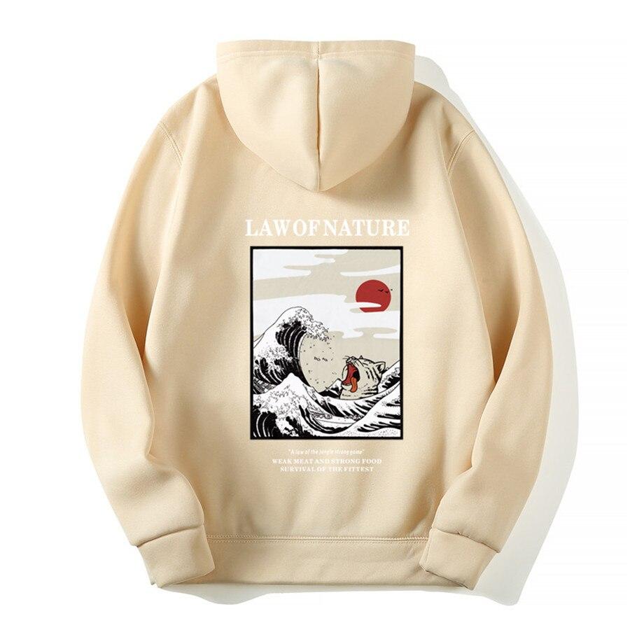 Japanese Funny Cat Wave Fleece Hoodies Winter Style Hip Hop men/women Printed hoodie Casual printing Sweatshirts Streetwear 4