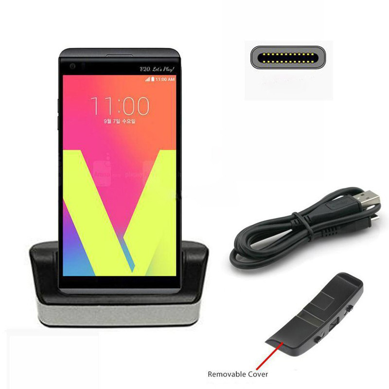 GANZU V20 Battery Charger Data Sync Desktop Dual Cradle For LG V20 H990 H910 H990N F800 BL-44E1F With Removable Slot Black
