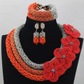 Exclusive Silver and Coral Orange Beads Bridal Jewellery Set Flower Brooch Nigerian Wedding Jewelry Set Free Shipping WD716