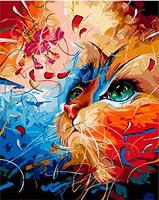 MaHuaf X1204 Bright Cat Painting By Numbers Hand Painted Coloring By Numbers On Canvas Wall Pictures