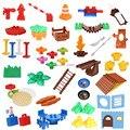 Las partículas grandes bloques de diy cuadro de hierba árbol paraguas creativo bloques de construcción compatibles con duploe juguetes educativos del bebé
