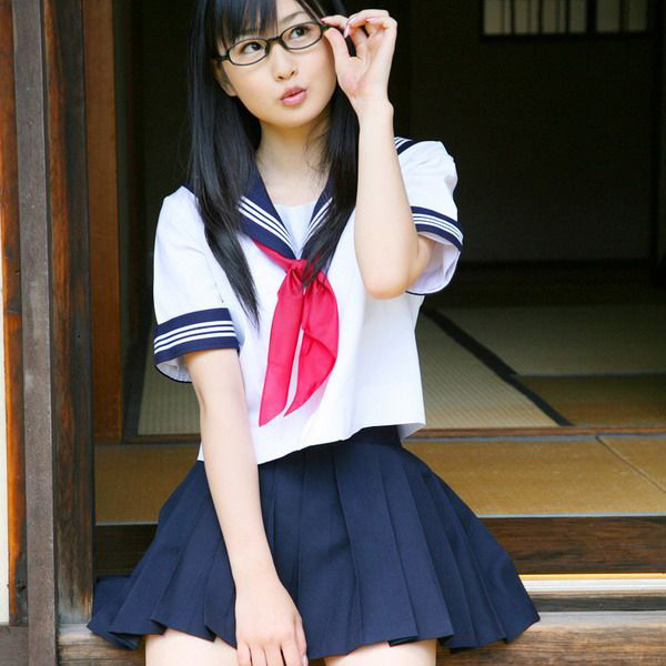 Japanese School Girl Uniform  3 White Bar , Short Sleeve -6592