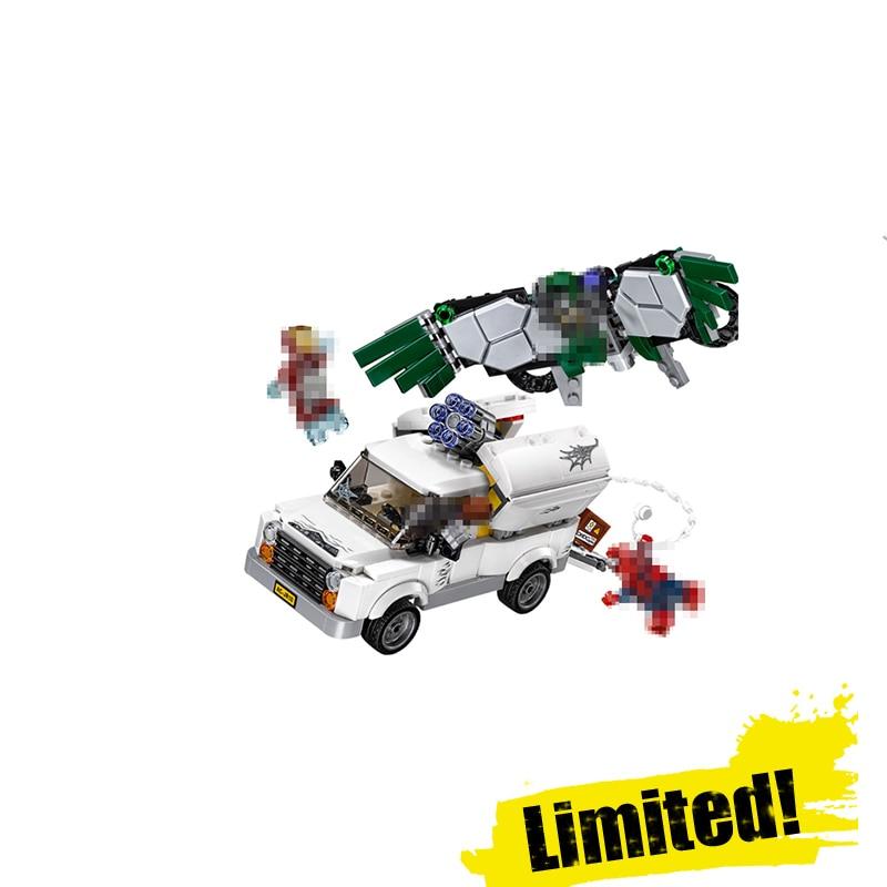 Lepin Beware of Vultures 07076 400pcs Marvel Super Heroes Spiderman Homecoming IRON MAN Building Blocks Bricks Toys Gift 76083
