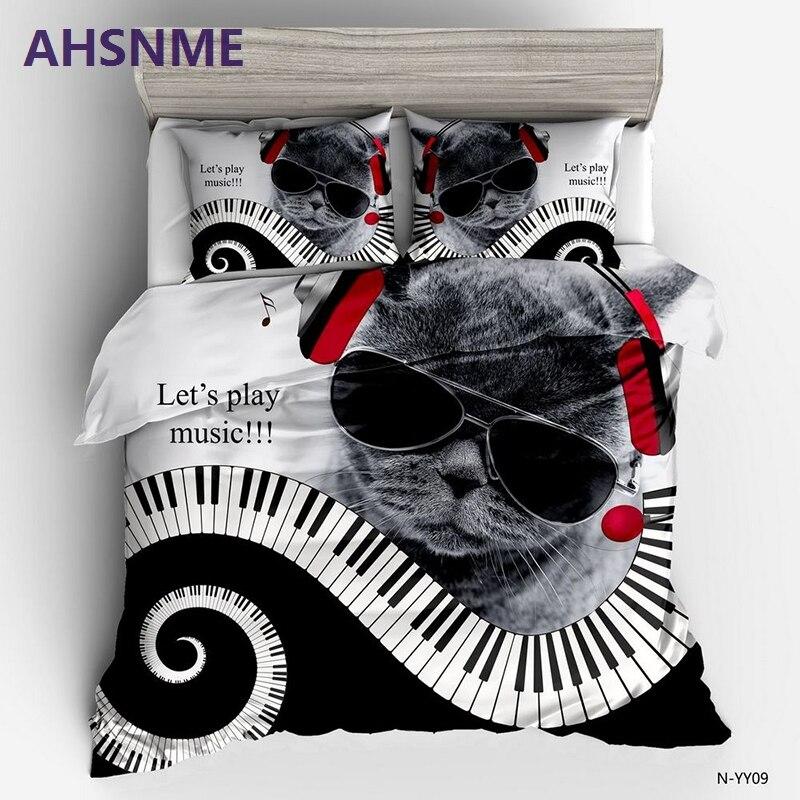 AHSNME haute définition HD lunettes de musique chat roi reine double chanter ensemble de literie ensembles de lit de haute qualité ne se décolore pas la housse de couette