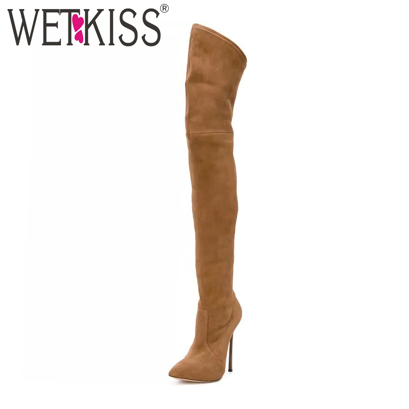 WETKISS Winter Women Over The Knee Boots Short Plush Footwear Pointed Toe Sexy Booties New Fashion Stretch High Heels Lady Shoes