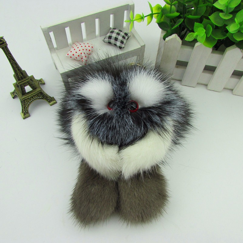 100% real mink fur cute bag phone pendant key ring key chain accessories free shipping