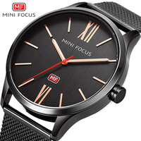 MINI FOCUS Luxury Ultra Thin Quartz Watches For Men Stainless Steel Mesh Watch Relogio Masculino De