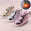 2016 детские ангельские крылья светлая кожа СВЕТОДИОДНЫЕ фонари обувь девочка мальчик кроссовки дети повседневная кроссовки обувь 16J21