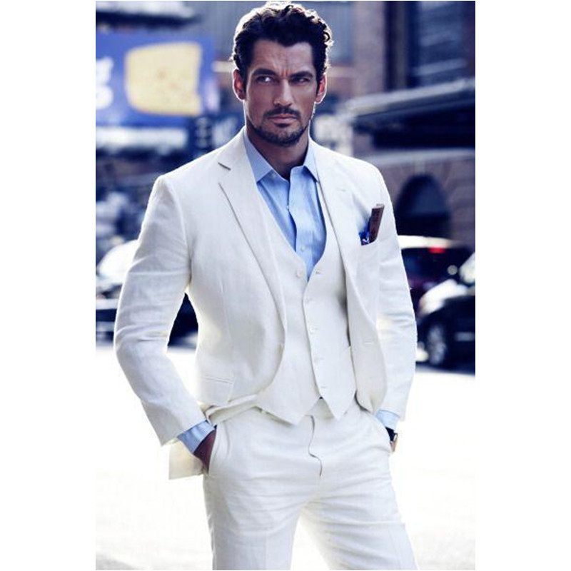 Ivory Grooms Tuxedos White Wedding Suits For Men Notched Lapel Slim Fit Mens Suits Tuxedo