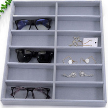 Factory direct new high-grade flannel 10 grid sunglasses display box glasses props