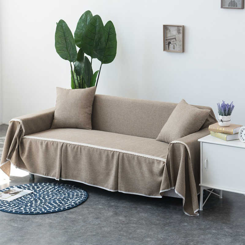 TUEDIO Cover For Couch Sofa Towel Solid Khaki Anti-Mite Linen/Polyester  Slip-resistant Slipcover Couch For Living Room Home