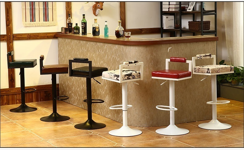 bar chair cloth seat PU leather stool free shipping dining room hotel chair rotation lifting seat  цена и фото