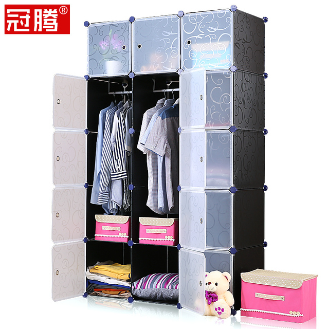 Guanteng Heightening Simple Wardrobe Combination Tuba Embled Diy Magic Piece Of Cloth Folded Double Hanging Closet