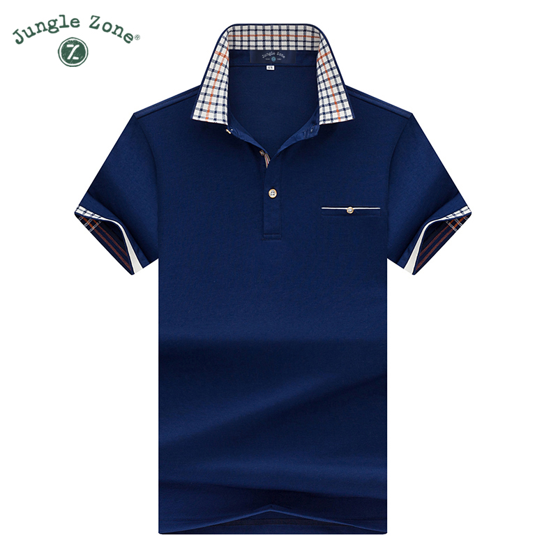 JUNGLE ZONE Men s short sleeve polo shirt solid color men polos casual short sleeved thin