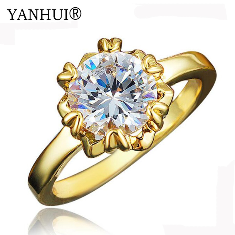 YANHUI New Fashion Pure 24K Gold Color Solitaire Ring Wedding Jewelry Natural Top 5A 8mm 2 Carat Diamant Engagement Ring HR560
