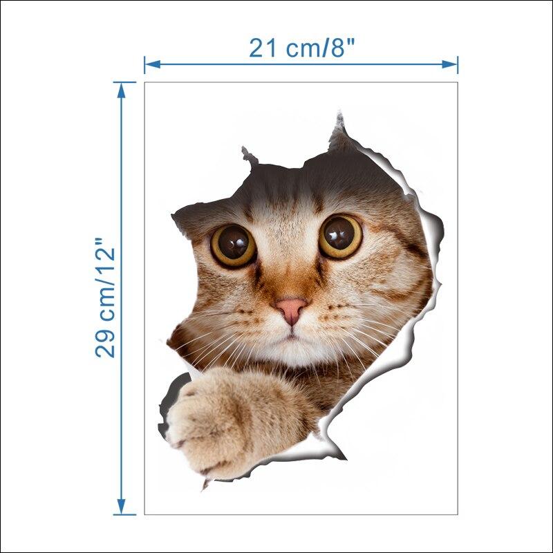Cats Dog 3D Wall Sticker Bathroom Toilet Living Room Kitchen Decoration Animal Vinyl Art Sticker Poster 2