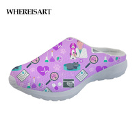 WHEREISART Sandals Women Summer 2019 Casual Funny Veterinarian Prints Stylish Home Sandals for Ladies Slippers Water Mesh Shoes
