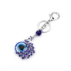 Модный брелок с синим кристаллом павлина, брелок для ключей, Подарочный кошелек, сумка, украшения в виде сглаза