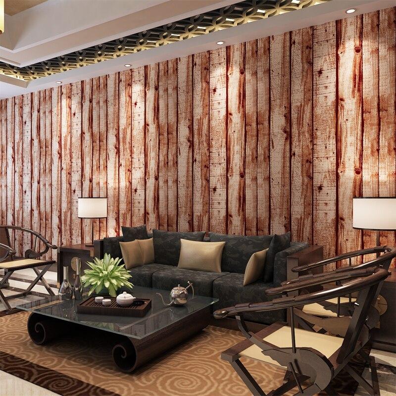 Aliexpress HANMERO 3D Holz Muster Retro Vintage Stil Tapete Wasserdichte Vinyl Wandverkleidungen Wohnzimmer Hintergrund QZ0452 Von Verlasslichen