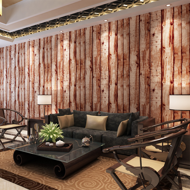 HANMERO 3D Wood Pattern Retro Vintage Style Wallpaper Waterproof Vinyl Wall  Coverings Living Room Background QZ0452