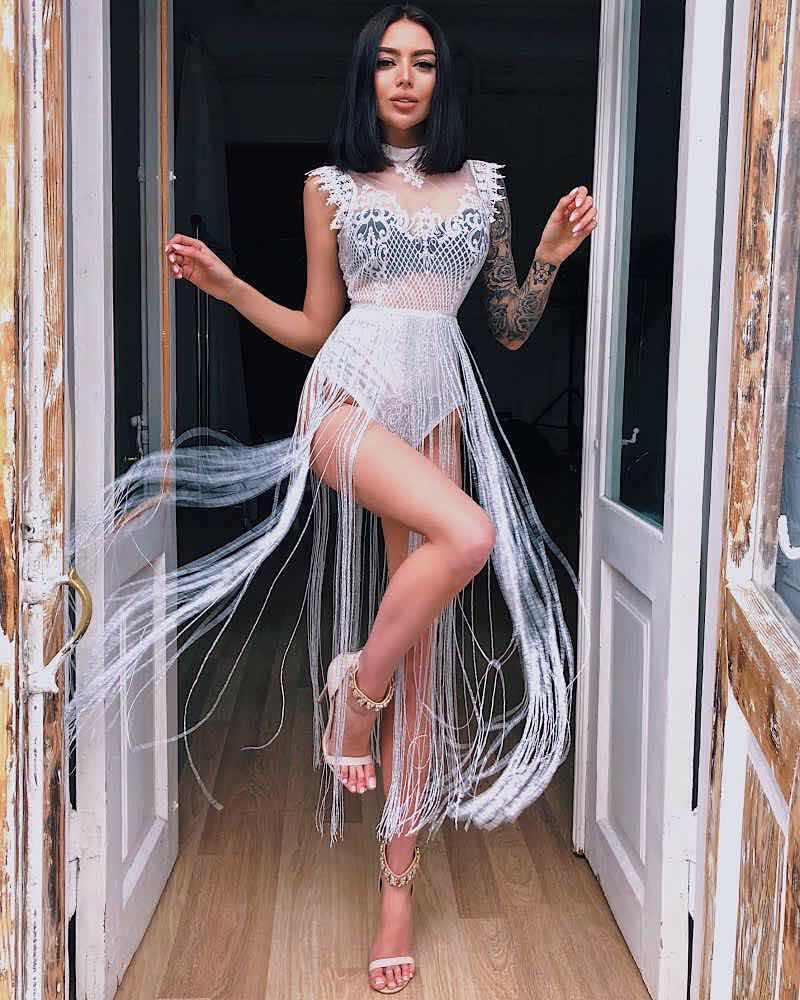 Missord 2018 сексуальный весенне-летний легкий комбинезон с ленточками кружевной прозрачный Блестящий боди с кисточками FT8901