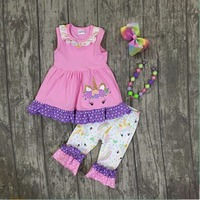 Baby Girls Summer Unicorn Outfits Kids Pink Unicorn Top With Unicorn Ruffle Capris Clothes Girls Summer