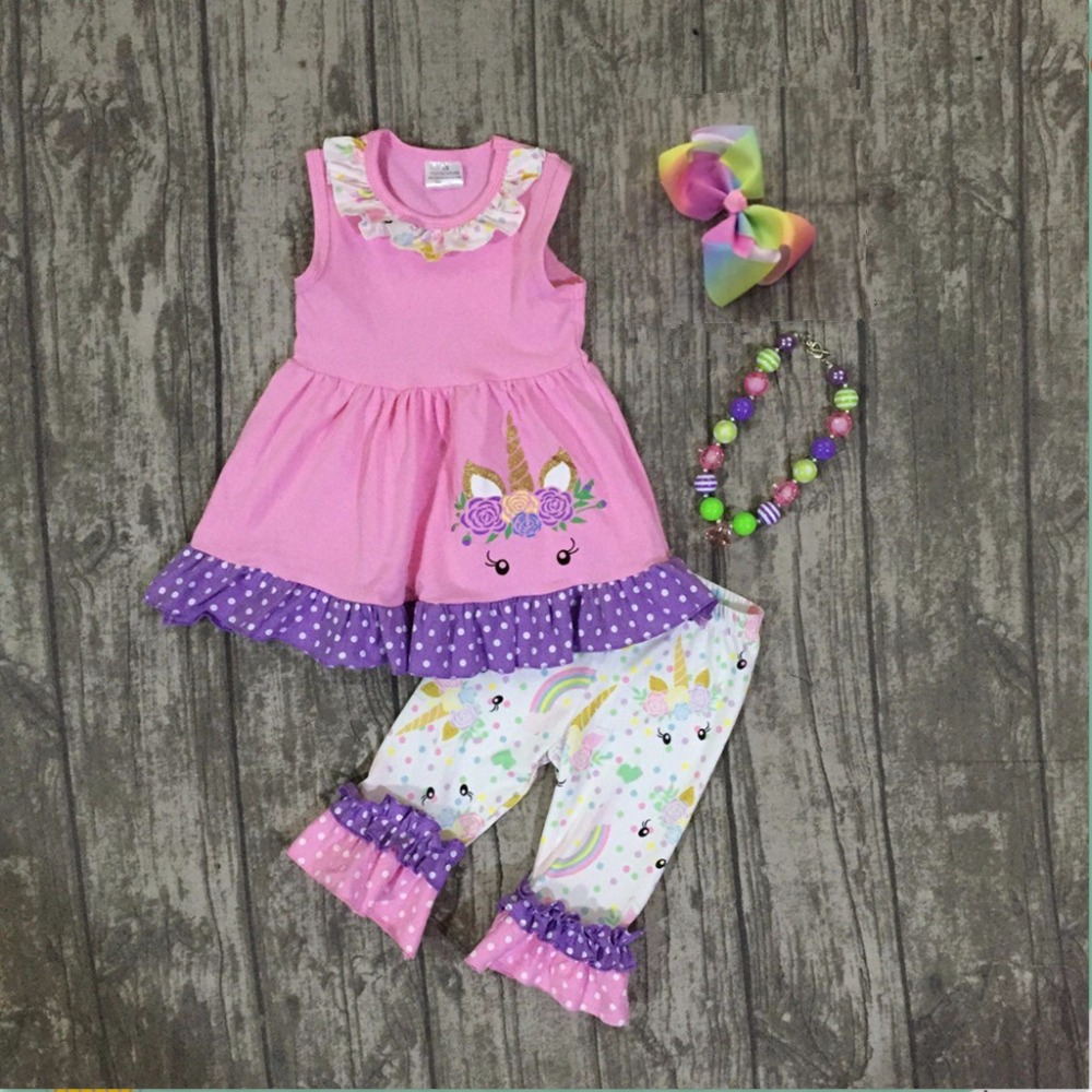 baby girls summer unicorn outfits kids pink unicorn top with unicorn ruffle capris clothes girls summer clothes with accessories
