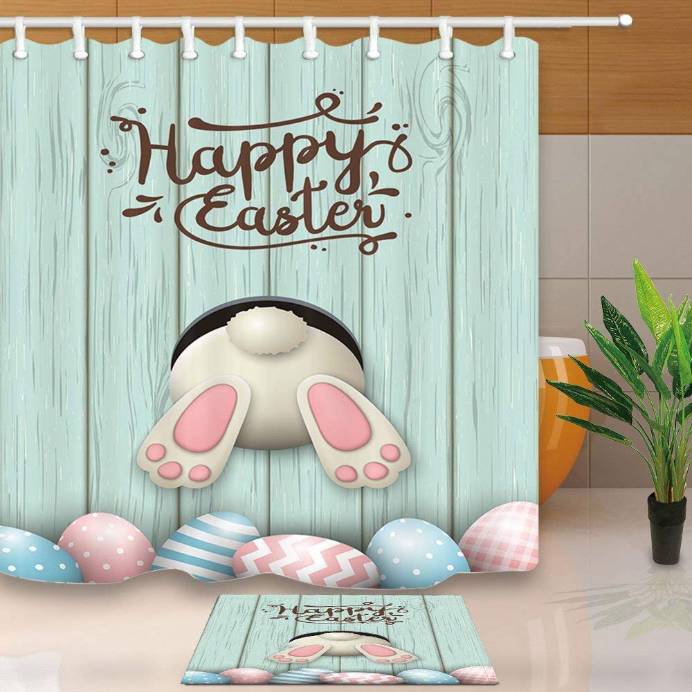 I wish you a Happy Easter Shower Curtain Bathroom Decor Fabric