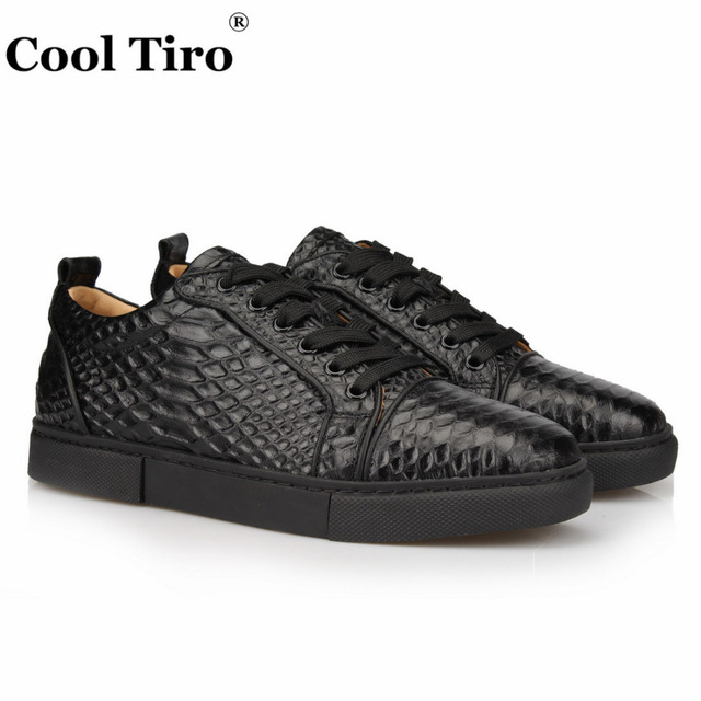 5577243058e5 KÜHLE TIRO Schwarz Python Low-top Sneaker Männer Echte Leder Freizeitschuhe  Mode herren Wohnung Snakeskin