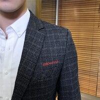 2018 Autumn New Men's Suit Jackets Business Casual Plaid Striped Suit Coats Male Slim Suitable Male Blazer Jacket S 5XL