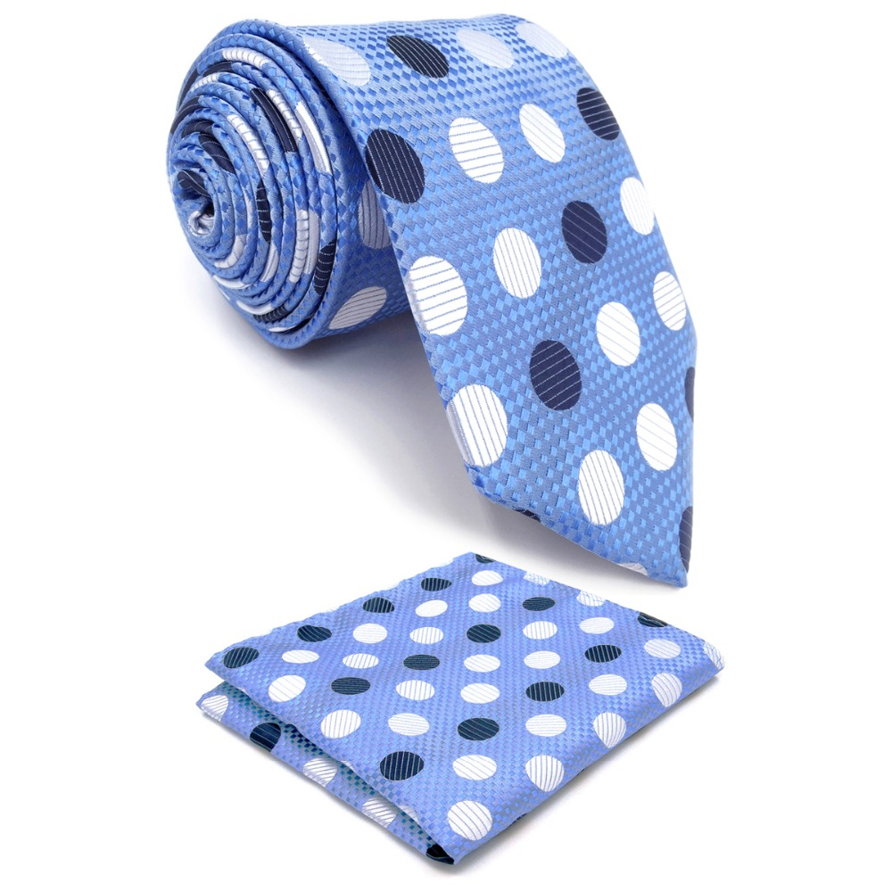 "Y5 Polka Dot Azure Silver Navy Silk ar rokām darinātu Classic kaklasaites kakla kaklasaites augstuma 63 """