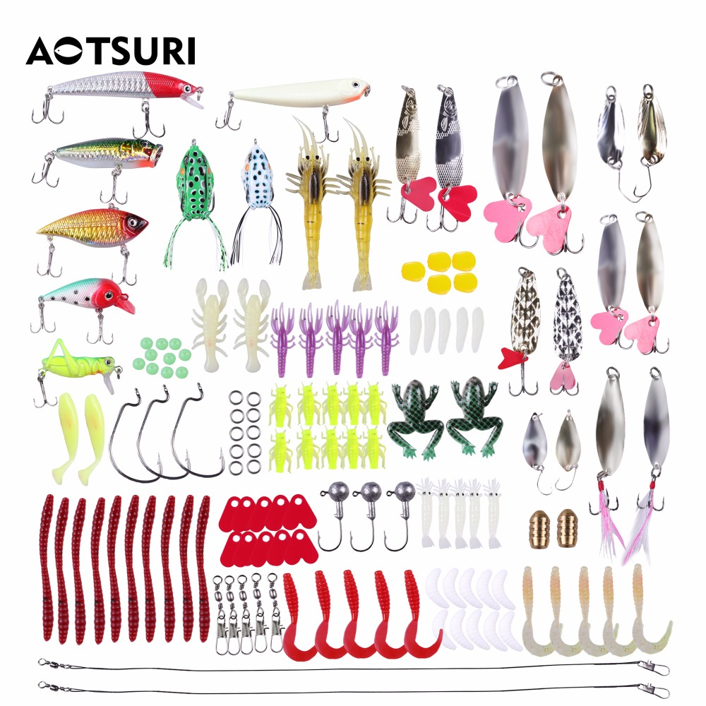 136 Pcs/Set Artificial Fishing Lure Set Hard Soft Bait Minnow Spinnerbaits Crankbaits Fishing Tackle Box Fish Tackle Tools 30pcs set fishing lure kit hard spoon metal frog minnow jig head fishing artificial baits tackle accessories