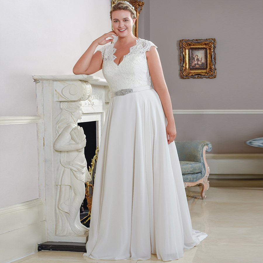 ADLN Cap Sleeve Chiffon Plus Size Wedding Dresses Sleeveless Beaded A-line Lace Bridal Wedding Gowns Robe De Mariage