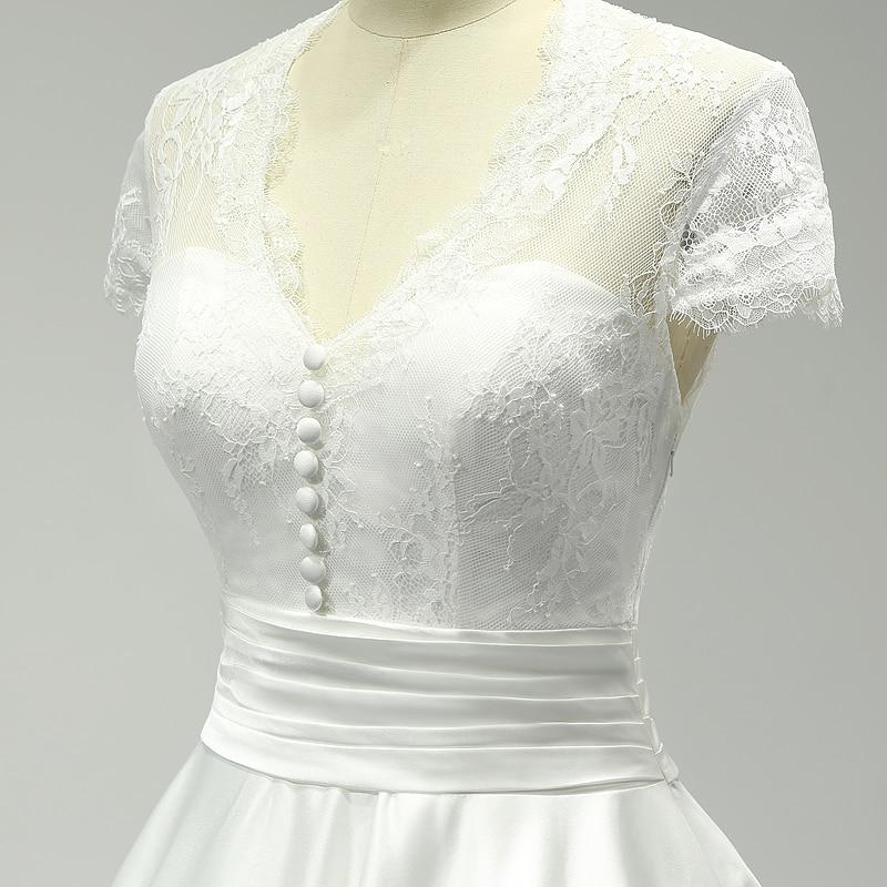 V-neck Lace Tea Length Sheer Back Satin Short Wedding Dress