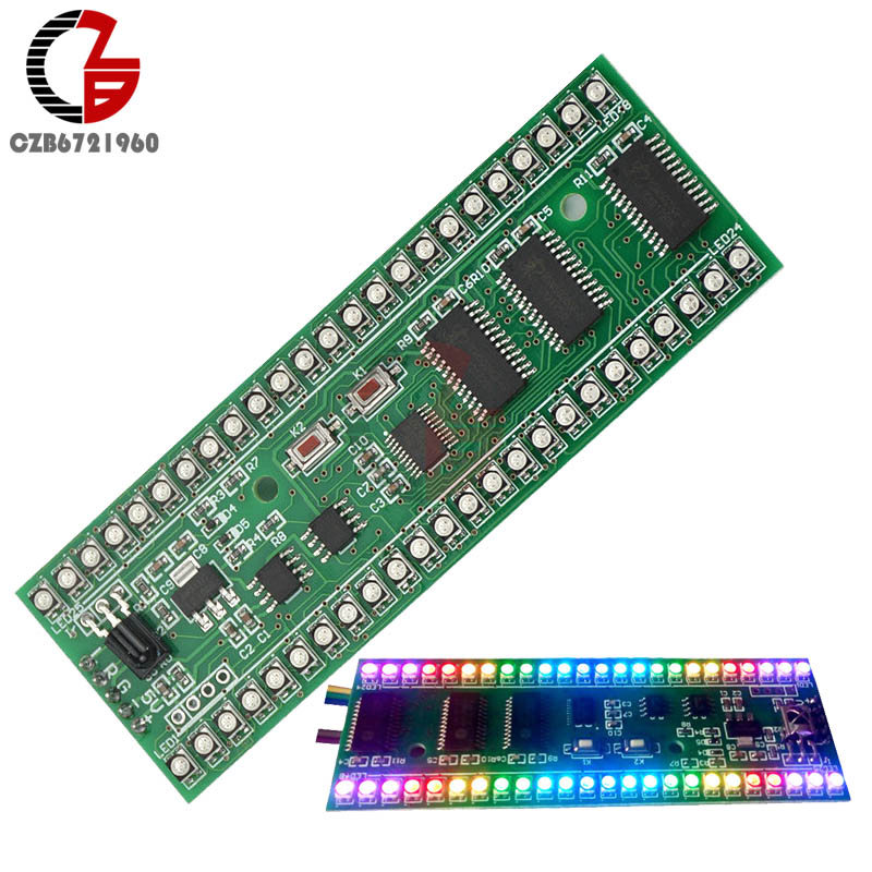 DC 5V-6V MCU RGB Display Pattern Dual Channel 24 LED VU Level Indicator Meter For Amplifier aiyima 5pcs 5v rgb led level indicator vu meter amplifier board diy mcu adjustable display pattern dual channel dual 24
