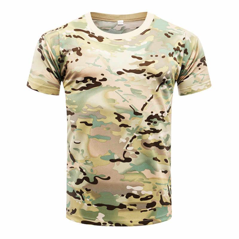 2018 Kamuflase Cepat Kering Bernapas T-shirt Celana Ketat Tentara Taktis T-shirt Pria Kompresi Kemeja Kebugaran Musim Panas Tubuh Bulding