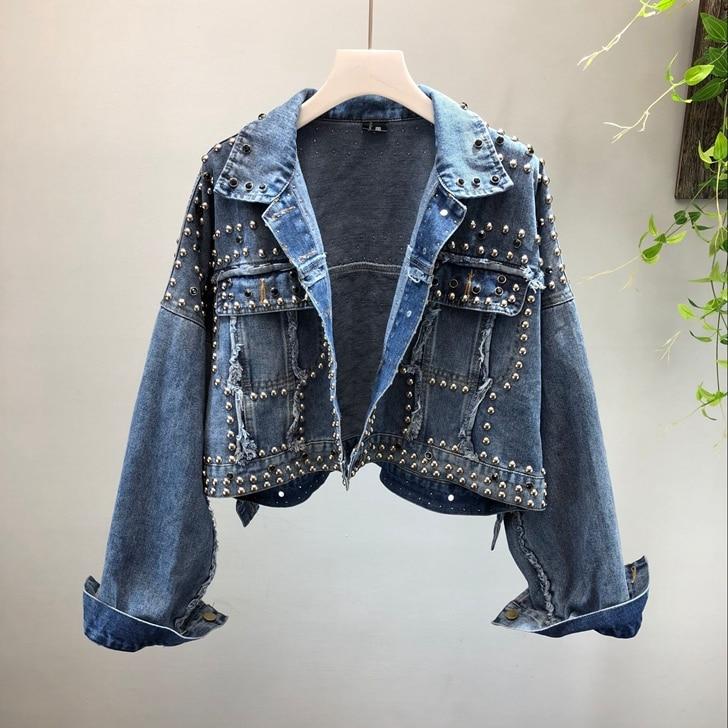 Perles Denim Manteau 779 Automne Mode 2018 Streetwear Bleu Style Femmes Déchiré De Veste Outwear Jean Coréenne Y x7YAqwW8A