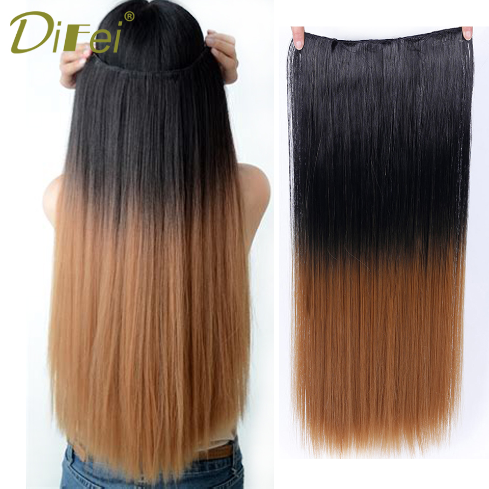 DIFEI 12 Colors 5 Clip In Long Straight Hair Extensions Synthetic Ombre Hairpieces Heat Resistant Hair Extensions for Women