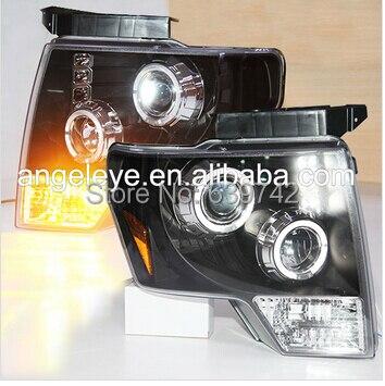 Для 2008-2012 года Ford F150 Raptor LED головы с подсветкой Ангельские глазки черный Цве ...