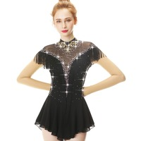 Black Long Sleeve Tassels Crystal Diamond Bow Figure Skating Dress Skating Skirt Women's and girls