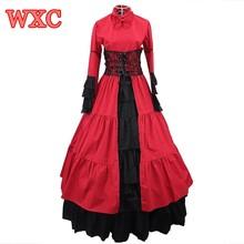 Elegant gothic steampunk dress vintage mujer de época victoriana cosplay lolita vestidos de cuello alto de encaje balón vestido de fiesta de disfraces wxc