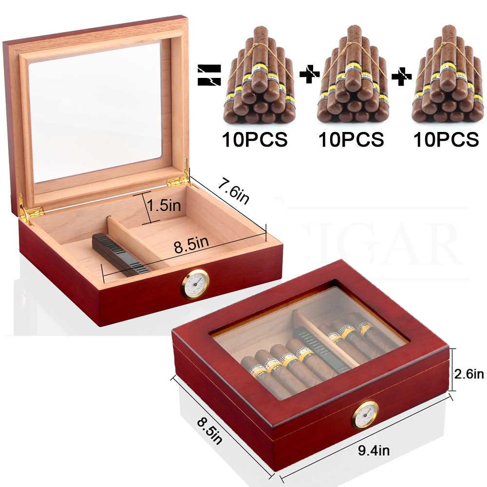 Kayu Cedar Perjalanan Cigar Humidor Kotak Humidifier Hygrometer Humidor Cigar Case Kotak Kaca Kotak Tembakau Cocok 20-30 Cohiba cerutu