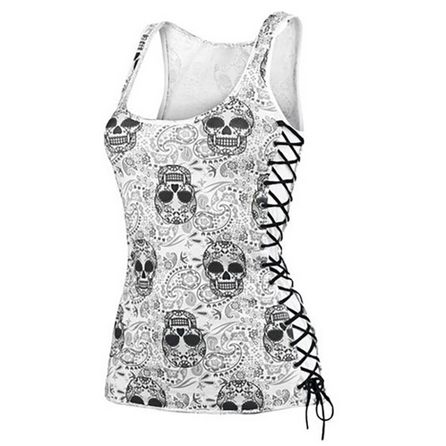 New Skull Head Design Tops Sleeveless White T Shirts Fitness Women Vest Casual Camisole Wholesale Dropship