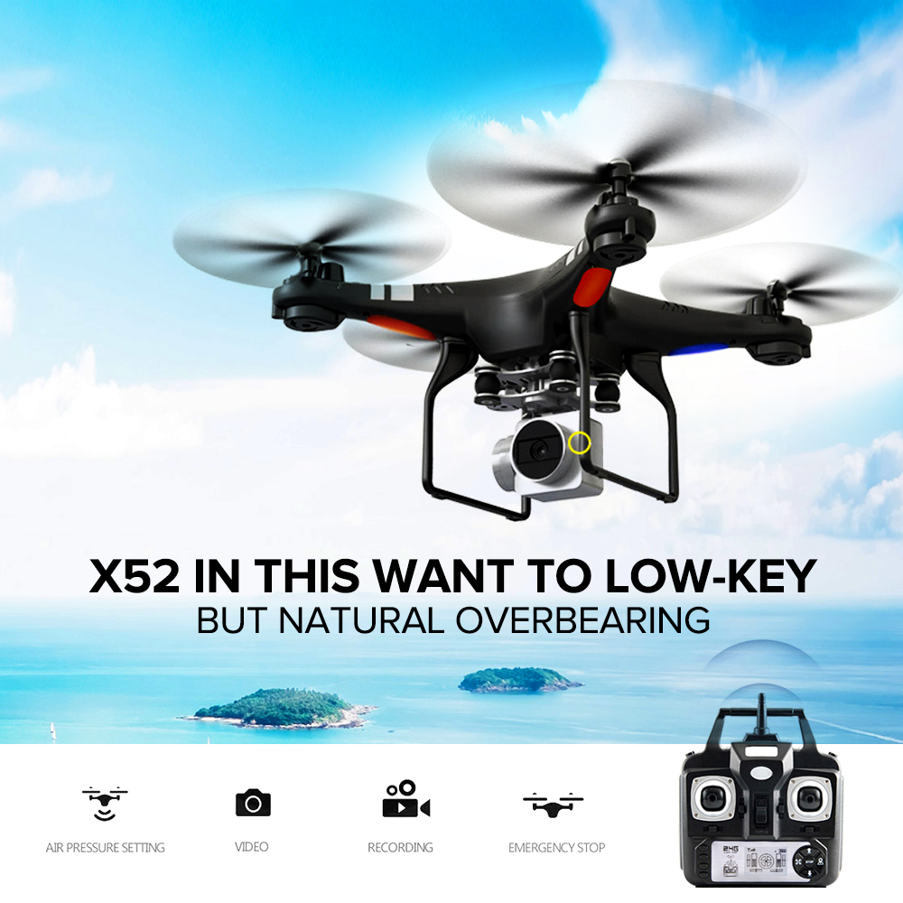RC Drone FPV WIFI 2MP HD Camera X52HD RC Quadcopter Micro Remote Control Helicopter Uav Drones Kit Helicopter Racer Aircraft Toy firefly q6 hd video camera light camera 4k fpv quadcopter 40g camera uav for rc drones built in gyroscope stabilization